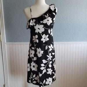 Black and white floral off the shoulder sundress